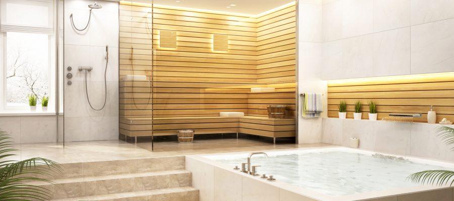 Douche à l'italienne dans une zone de relaxation